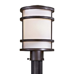Modern Post Light with White Glass in Oil Rubbed Bronze Finish