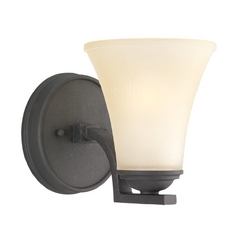 Sconce Wall Light with Beige / Cream Glass in Blacksmith Finish