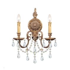 Crystorama Lighting Crystal Sconce Wall Light in Olde Brass Finish 2702-OB-CL-S