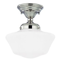 10-Inch Schoolhouse Semi-Flushmount Ceiling Light in Polished Nickel