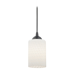 Design Classics Lighting Black Mini-Pendant Light with White Art Glass Cylinder Shade 582-07  GL1020C