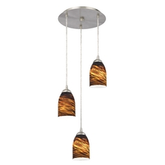 Design Classics Lighting Modern Multi-Light Pendant Light with Brown Art Glass and 3-Lights 583-09 GL1023D
