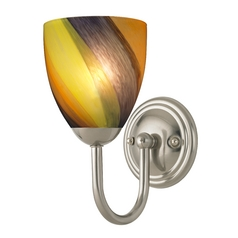 Sconce with Art Glass in Satin Nickel Finish