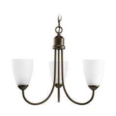 Progress Lighting Progress Chandelier with White Glass in Antique Bronze Finish P4440-20EBWB