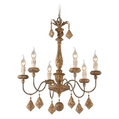 Troy Lighting Calais Aged Wood with Distress Gold Leaf Chandelier