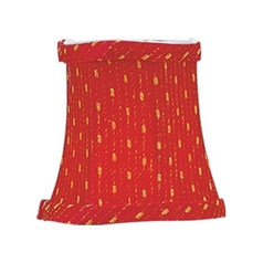 Red/gold Bell Lamp Shade with Clip-On Assembly