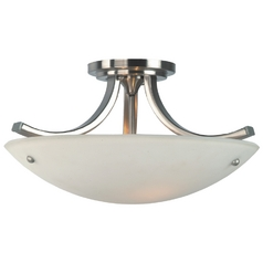 Modern Semi-Flushmount Light with White Glass in Brushed Steel/polished Nickel Finish