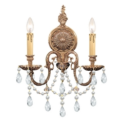 Crystorama Lighting Crystal Sconce Wall Light in Olde Brass Finish 2702-OB-CL-SAQ