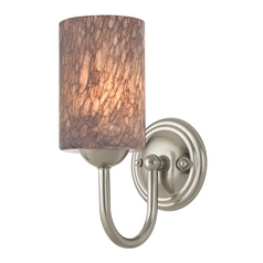 Sconce with Brown Art Glass in Satin Nickel Finish