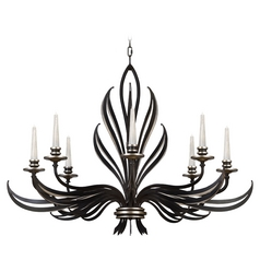 Fine Art Lamps Villandry Black with Antique Silver Leaf Chandelier