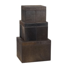 Nested Chestnut Faux Pony Boxes- Set of 3
