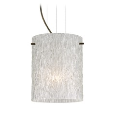 Besa Lighting Tamburo Bronze LED Mini-Pendant Light with Cylindrical Shade