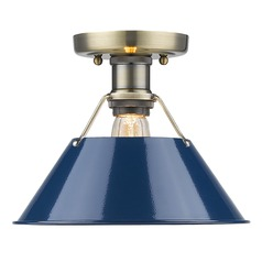 Golden Lighting Orwell Ab Aged Brass Flushmount Light