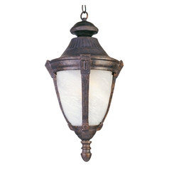 Outdoor Hanging Light with White Glass in Empire Bronze Finish