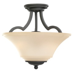 Semi-Flushmount Light with Beige / Cream Glass in Blacksmith Finish