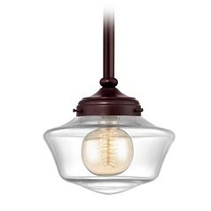 8-Inch Clear Glass Schoolhouse Mini-Pendant Light in Bronze Finish