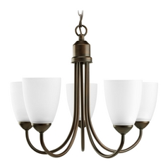 Progress Lighting Progress Chandelier with White Glass in Antique Bronze Finish P4441-20EBWB