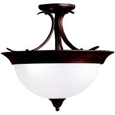 Kichler Lighting Kichler Semi-Flushmount Light with White Glass in Bronze Finish 3623TZ