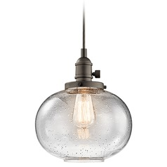 Seeded Glass Mini-Pendant Light Bronze Kichler Lighting