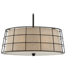 Quoizel Lighting Landings Mottled Cocoa Pendant Light with Drum Shade