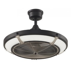 Fanimation Fans Pickett Drum Black LED Ceiling Fan with Light