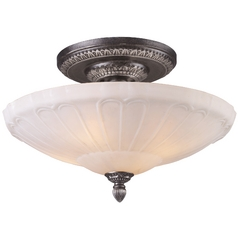 Semi-Flushmount Light with White Glass in Dark Silver Finish