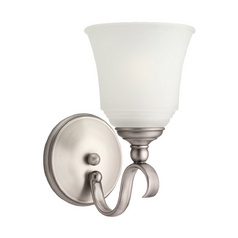 Sconce Wall Light with White Glass in Antique Brushed Nickel Finish