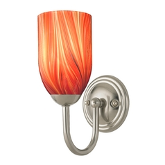 Sconce with Red Art Glass in Satin Nickel Finish