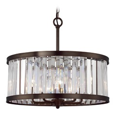 Savoy House Lighting Tierney Burnished Bronze Pendant Light with Drum Shade