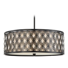 Quoizel Lighting Boutique Mystic Black Pendant Light with Drum Shade