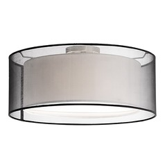 Kuzco Lighting Modern Brushed Nickel Semi-Flushmount Light with Double Shade