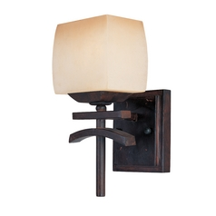 sconce wall light with beige cream glass in roasted chestnut finish asian inspired lighting