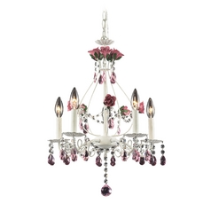 Modern Mini-Chandelier in Antique White Finish