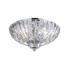 Crystal Semi Flushmount Light With Clear Glass In Polished