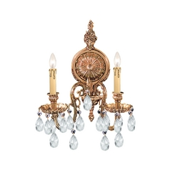 Crystorama Lighting Crystal Sconce Wall Light in Olde Brass Finish 2902-OB-CL-SAQ