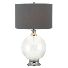 Table Lamp with Grey Shade in Glass with Chrome Finish Accent Finish