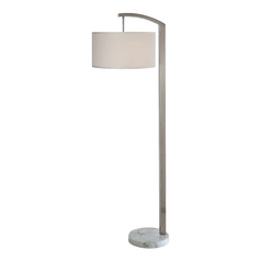 Modern Floor Lamp with Beige / Cream Shade in Brushed Nickel Finish