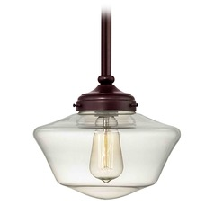 Bronze 10-Inch Clear Glass Schoolhouse Mini-Pendant Light