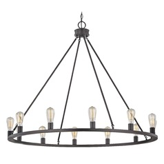 Industrial Round Chandelier Bronze