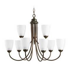 Progress Lighting Progress Chandelier with White Glass in Antique Bronze Finish P4627-20EBWB