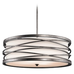 Kichler Drum Pendant Light with White Glass in Warm Bronze Finish
