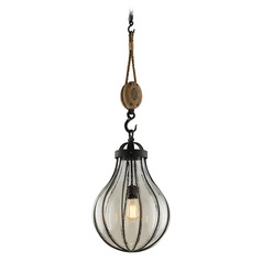 Seeded Glass Pendant Light Vintage Iron Troy Lighting