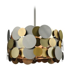 Dimond Prizzi Pewter and Gold and Antique Brass Pendant Light