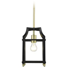 Leighton SB Mini Pendant in Satin Brass with Black