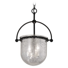 Pendant Light with Mercury Glass in Old Iron Finish