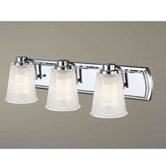 3-Light Bathroom Light with Clear Prismatic Glass in Chrome Finish