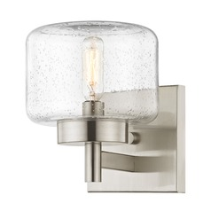 Industrial Seeded Glass Sconce Satin Nickel