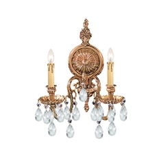 Crystorama Lighting Crystal Sconce Wall Light in Olde Brass Finish 2902-OB-CL-MWP