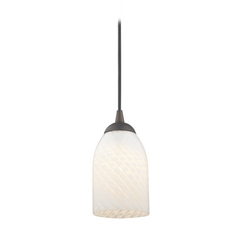 Bronze Mini-Pendant Light with White Scalloped Art Glass