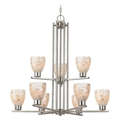 Chandelier with Beige / Cream Glass in Satin Nickel Finish